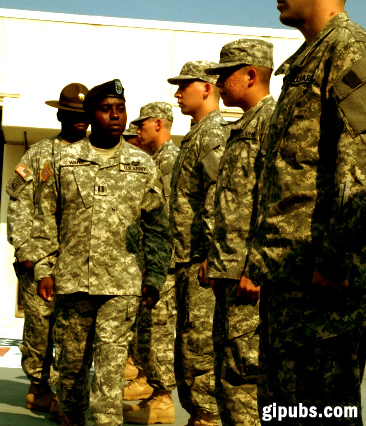 A captain and drill sergeant perform a reception inspection